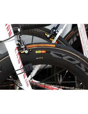 Omega Pharma-Lotto rider Kenny DeHaes went aggressive with his wheel choice at Scheldeprijs, opting for 90mm-deep Mavic carbon tubulars front and rear.