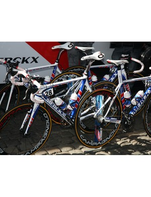 QuickStep used Eddy Merckx's new EMX-7 bikes and deep-section Campagnolo Bora Ultra carbon tubulars at Scheldeprijs.