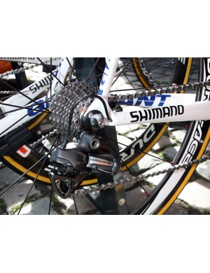 Rabobank riders used a mix of electronic and mechanical Shimano Dura-Ace components at Scheldeprijs.