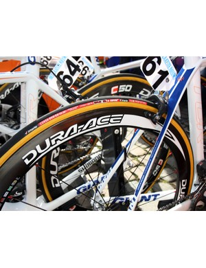 Theo Bos (Rabobank) used a slightly wider-than-normal 23mm Vittoria tire on his 50mm-deep Shimano Dura-Ace carbon tubular wheels.