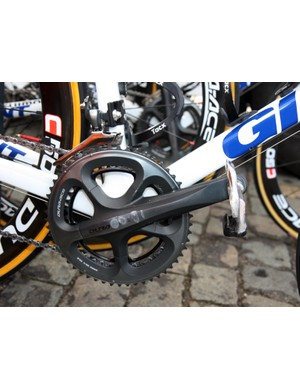 This set of Shimano Dura-Ace cranks have seen a lot of use on this Rabobank machine.