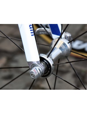 Matching fork tips on the front end of Rabobank's modified Giant TCR Advanced SL machines add 7mm of rake.