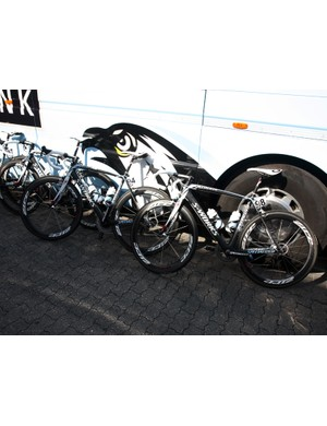 Saxo Bank-Sungard's Specialized S-Works Tarmac SL3s rest peacefully before heading off to the start of Scheldeprijs.