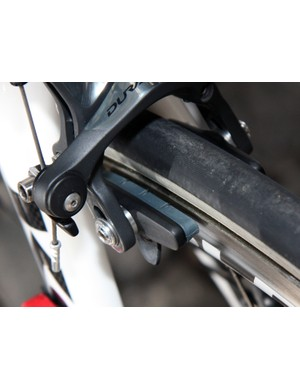 Shimano's carbon-specific blue-compound pads are common currency among the company's sponsored teams.