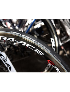 Skil-Shimano was using Michelin-branded tubulars on Shimano carbon wheels - though we've been told that they're made by Vittoria.