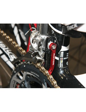 Vacansoleil-DCM team bikes were outfitted with Rotor chain catchers.