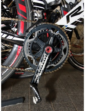Once again, Rotor's 3D cranks are found on a team bike - this one from Vacansoleil - but its elliptical Q-Rings were much more elusive.