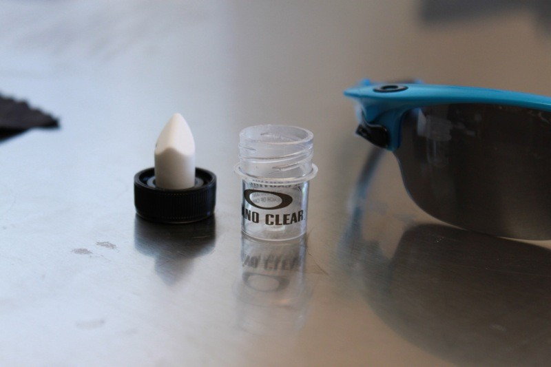 Oakley's nano hydrophobic coating applicator; they say its good for 10 applications