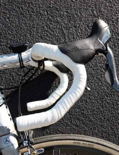 Fabian Cancellara (Leopard Trek) is using Bontrager old-style anatomic bend for Paris-Roubaix.