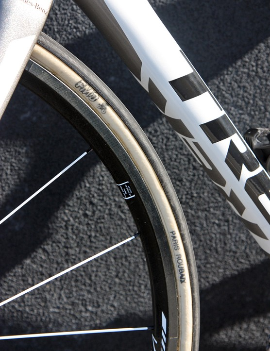 Giant 27mm-wide FMB Paris-Roubaix tubulars are Leopard Trek's tire of choice for Sunday.