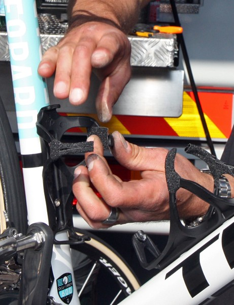 The friction tape on Leopard Trek's bottle cages had to be applied by hand, one by one.