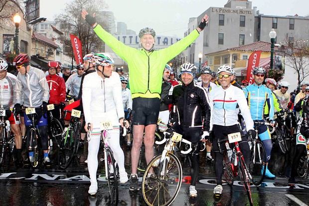 The scene from 2010: NBA Hall of Famer, Bill Walton with Paolo Bettini at the start of the very wet Colnago Gran Fondo San Diego