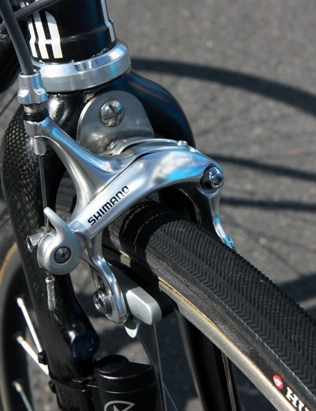 Shimano BR-A550 long-reach brake calipers are installed front and rear