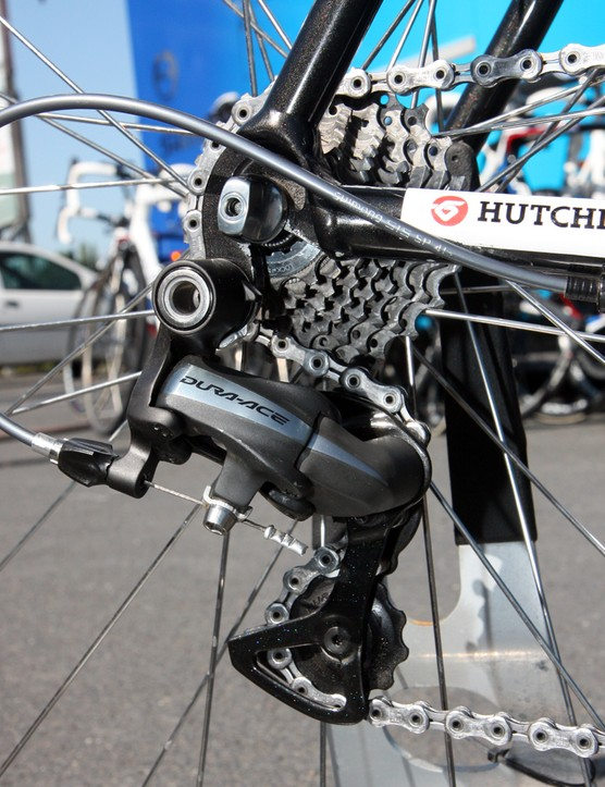 Nothing extraordinary here - just a standard Shimano Dura-Ace rear derailleur on the back of Frederic Guesdon's (FDJ) Lapierre