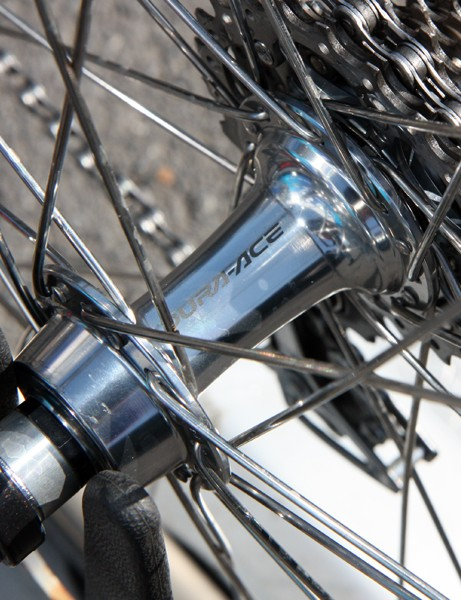 The Ambrosio Nemesis aluminum box-section rims are laced to standard Shimano Dura-Ace 7800-generation hubs