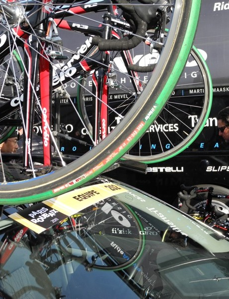 While the majority of Garmin-Cervelo started on FMB Paris Roubaix tires, Vittoria Paves graced the spare bikes