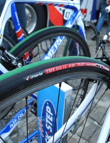 Quick-Step rode standard Vittoria Pave tires, save for Tom Boonen