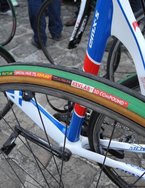 Tom Boonen rode Vittoria's Special Pave tire with a tan casing