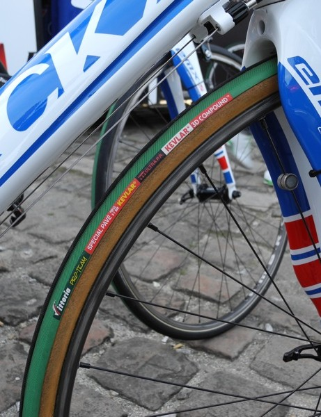 Boonen's front Special Pave glued to what looks to be the same wheelset that he's won Paris Roubaix on before
