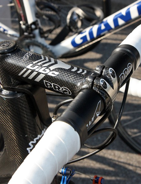 Lars Boom (Rabobank) used an aluminum bar and a carbon-wrapped stem - both by PRO - for Paris-Roubaix