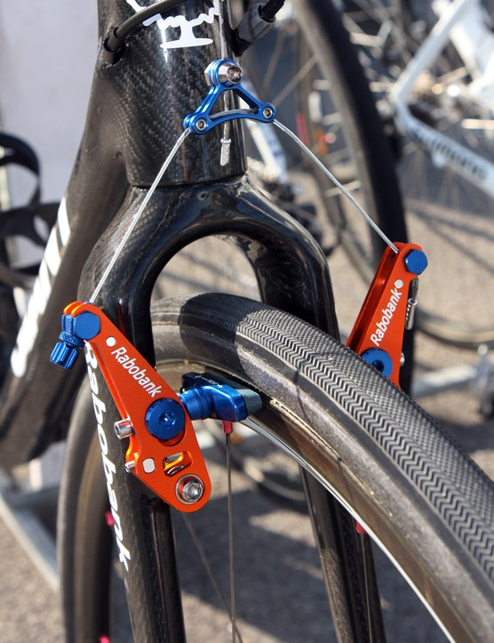 Rabobank's Lars Boom ran a cantilever-equipped 'cross bike to get more clearance, not for mud but for his preferred 30mm-wide tires