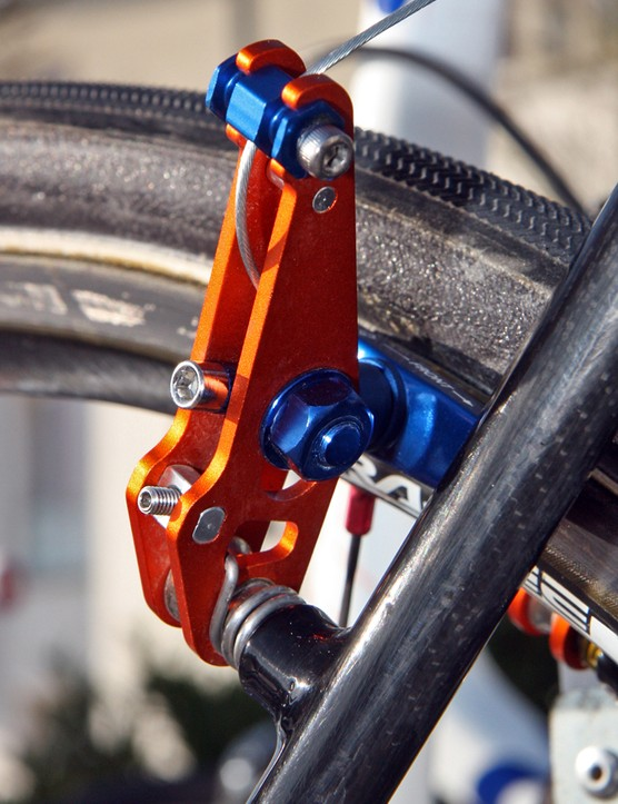 Lars Boom's brakes are lightweight with compact, low-profile arms, yet still include handy centering adjustments