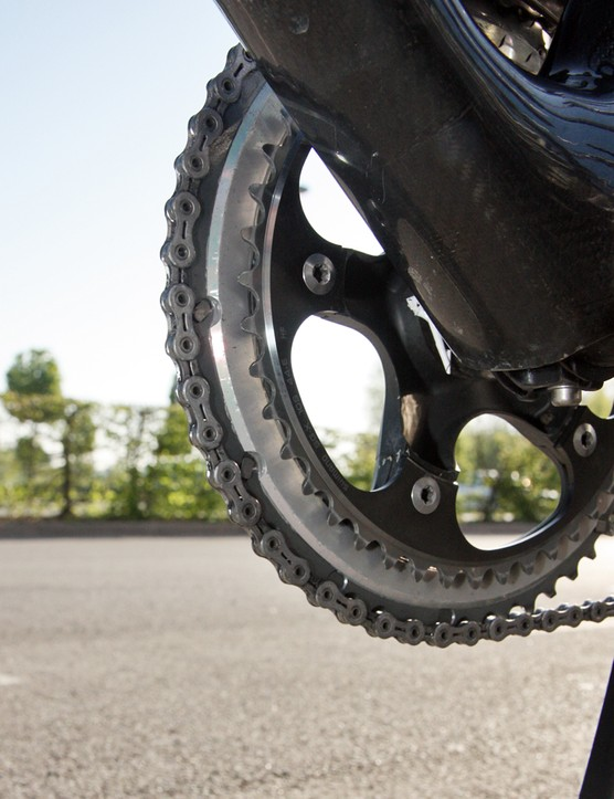 Shimano now make matched chainrings in more Paris-Roubaix-friendly ratios, like the 53/44T combination that Lars Boom (Rabobank) used on Sunday
