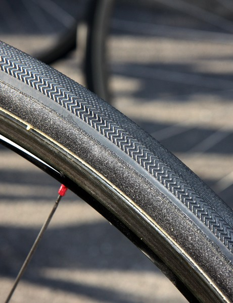 Lars Boom's (Rabobank) tires weren't marked nor would team officials disclose their maker but they look like Dugast's Paris-Roubaix tread glued onto 30mm-wide casings