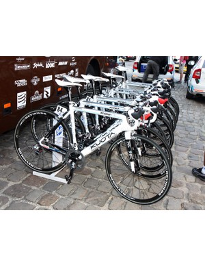 Ag2r's fleet of Kuota KOM Evos lined up and ready to go at the start in Compiegne