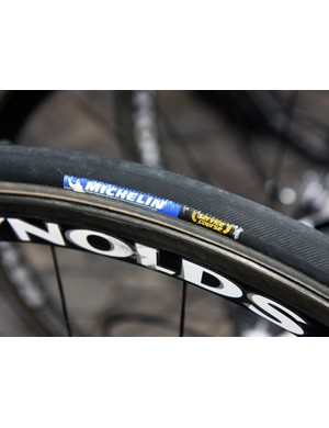 Ag2r's tubular tires wore Michelin hot stamps but we've been told they're actually produced by Vittoria