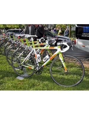 Bretagne-Schuller's KTM Revelators lined up before the start of Paris-Roubaix