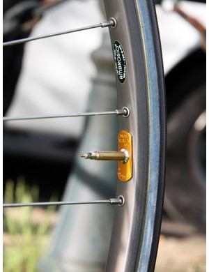 Aside from the Ambrosio factory itself, we're guessing there's no greater single concentration of the company's Nemesis aluminum box-section tubular rims than at Paris-Roubaix - as seen here on the KTM bikes of Bretagne-Schuller