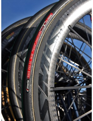 Thor Hushovd's (Garmin-Cervélo) spare Cervélo S3 had Mavic Cosmic Carbone SLR wheels and 24mm-wide Vittoria tires mounted for Paris-Roubaix