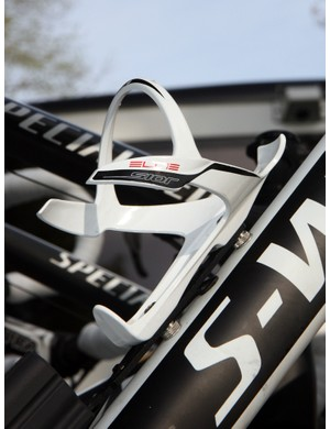 Elite's new Sior cage incorporates a titanium hoop molded inside the carbon fiber for a more secure hold on bottles. That it was mounted on this HTC-Highroad bike for Paris-Roubaix is good testament to its grip