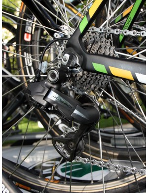 This HTC-Highroad spare bike was equipped with a Shimano Dura-Ace Di2 electronic group