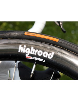 Specially made Continental tubular tires are mounted up on HTC-Highroad's HED S5 carbon tubular rims