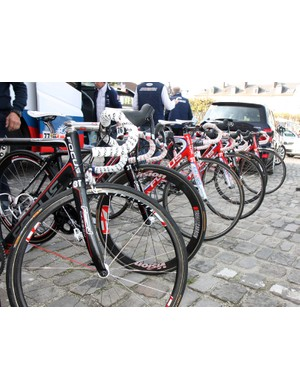 Katusha riders used a wide variety of tubular rims for the start of Paris-Roubaix, including both deep and shallow-section carbon wheels and more traditional box-section aluminum ones