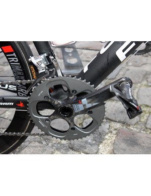 Filippo Pozzato (Katusha) swapped the standard SRAM Red inner chainring for a bigger one made by Specialites TA