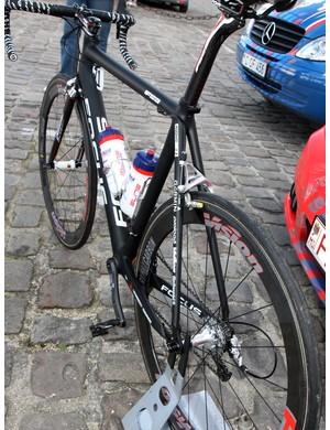 Straight stays mark the rear end of Filippo Pozzato's (Katusha) bike