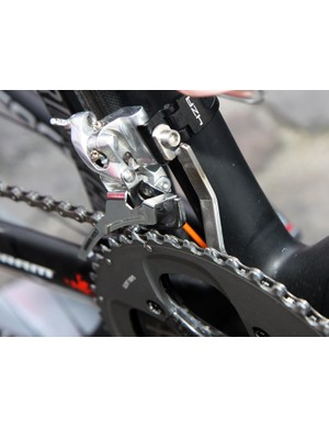 Filippos Pozzato's (Katusha) bike was equipped with this custom chain watcher