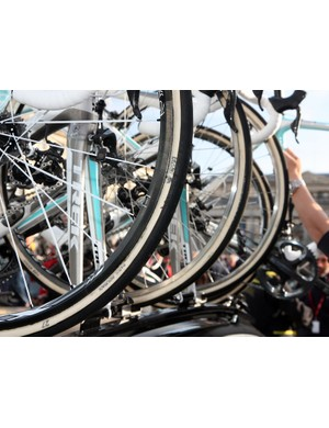 Fabian Cancellara (Leopard Trek) started and finished this year's Paris-Roubaix on a set of ultralight Bontrager Race XXX Light carbon tubular wheels wrapped with 27mm-wide FMB tires