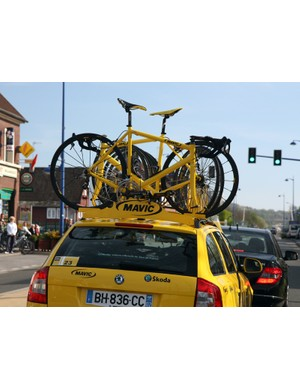 Mavic's neutral support cars and motorcycles were in full force at Paris-Roubaix - though we're guessing most racers would hope to not be in a situation where they're forced to ride a bike with toe clips