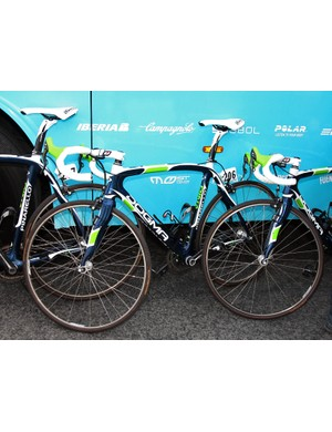 Movistar's team Pinarellos sported one of the boldest paint jobs at this year's Paris-Roubaix
