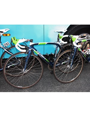 Tire clearance was pretty good up front on the Pinarello KOBH bikes of the Movistar team