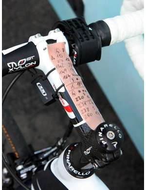 This Movistar rider recorded the pave secteurs on a strip of medical tape