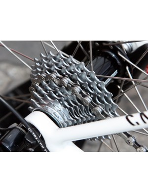 We spotted an usual number of larger cassette cogs on Paris-Roubaix bikes this year, such as the 11-25T Chorus block on Andre Greipel's (Omega Pharma-Lotto) Canyon Ultimate AL Pave