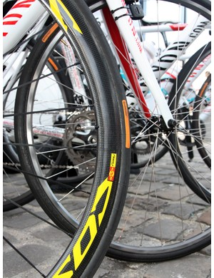 Omega Pharma-Lotto riders used a mix of carbon and aluminum wheels at this year's Paris-Roubaix