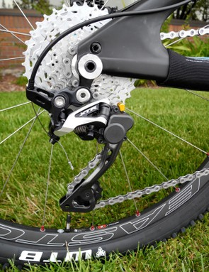 We also rode Shimano's new XTR Shadow Plus rear derailleur with a single direction clutch that reduces chain slap