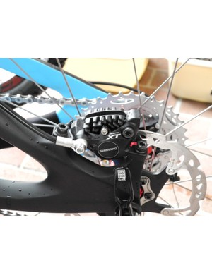 The M785 trail brake caliper sports Ice Tech cooling fins on its pads