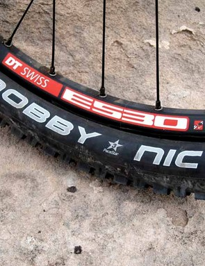 Though the Enduro build kit is listed with Schwalbe's Fat Albert tire, our test bike came with Nobby Nics. This tire was a favorite on the rocky, loose and dry singletrack of Colorado